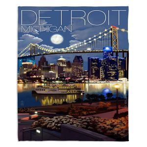 Artistic Sherpa Pile Blankets | Lantern Press - Detroit Michigan Skyline