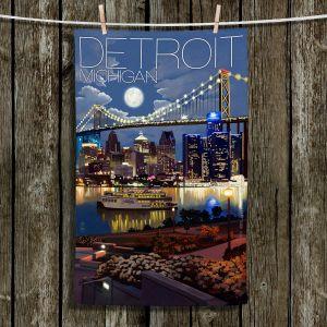 Unique Bathroom Towels | Lantern Press - Detroit Michigan Skyline