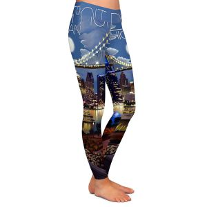 Casual Comfortable Leggings | Lantern Press - Detroit Michigan Skyline