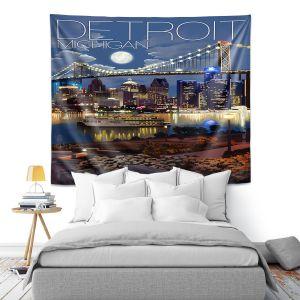 Artistic Wall Tapestry | Lantern Press - Detroit Michigan Skyline