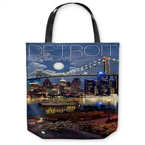 Unique Shoulder Bag Tote Bags   Lantern Press - Detroit Michigan Skyline