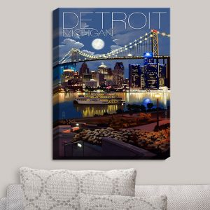 Decorative Canvas Wall Art | Lantern Press - Detroit Michigan Skyline
