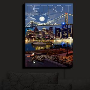 Nightlight Sconce Canvas Light | Lantern Press - Detroit Michigan Skyline