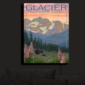 Nightlight Sconce Canvas Light | Lantern Press - Glacier National Park