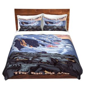 Artistic Duvet Covers and Shams Bedding | Lantern Press - Hawaii Volcanos | Ocean Nature Sea