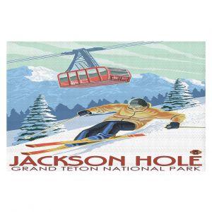 Decorative Floor Coverings | Lantern Press - Jackson Hole Teton | Ski Snow Winter
