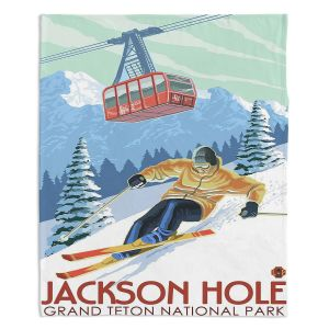 Decorative Fleece Throw Blankets | Lantern Press - Jackson Hole Teton | Ski Snow Winter