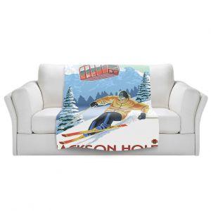 Artistic Sherpa Pile Blankets | Lantern Press - Jackson Hole Teton | Ski Snow Winter