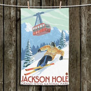 Unique Hanging Tea Towels | Lantern Press - Jackson Hole Teton | Ski Snow Winter