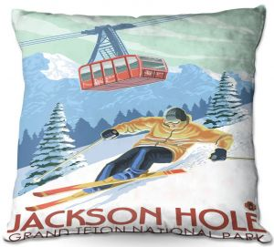 Decorative Outdoor Patio Pillow Cushion | Lantern Press - Jackson Hole Teton | Ski Snow Winter