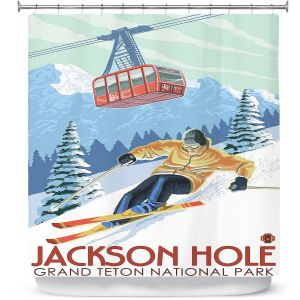 Premium Shower Curtains | Lantern Press - Jackson Hole Teton | Ski Snow Winter