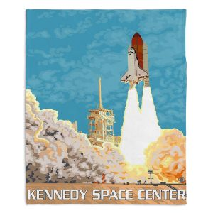 Artistic Sherpa Pile Blankets | Lantern Press - Kennedy Space Center | Spaceship Rocket