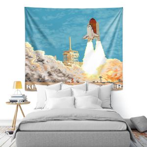 Artistic Wall Tapestry   Lantern Press - Kennedy Space Center   Spaceship Rocket