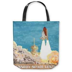 Unique Shoulder Bag Tote Bags | Lantern Press - Kennedy Space Center | Spaceship Rocket