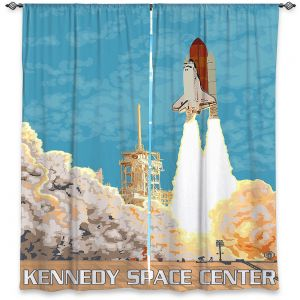 Decorative Window Treatments | Lantern Press - Kennedy Space Center | Spaceship Rocket