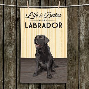 Unique Hanging Tea Towels | Lantern Press - Labrador Life | Dog Puppy