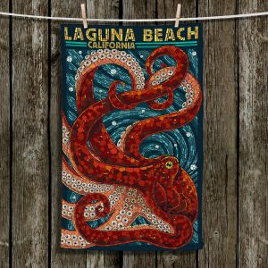 Unique Bathroom Towels   Lantern Press - Laguna Beach CA   Octopus Nautical Ocean Sea California