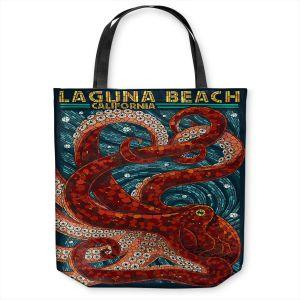Unique Shoulder Bag Tote Bags   Lantern Press - Laguna Beach CA   Octopus Nautical Ocean Sea California