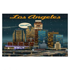 Decorative Floor Coverings | Lantern Press - Los Angeles Skyline | Downtown Cityscape Night California