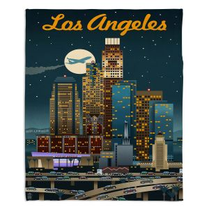 Decorative Fleece Throw Blankets | Lantern Press - Los Angeles Skyline | Downtown Cityscape Night California