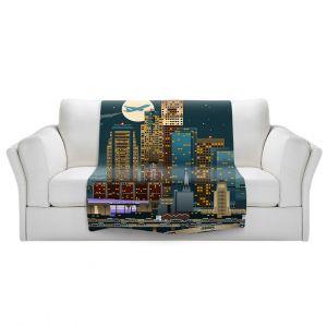 Artistic Sherpa Pile Blankets | Lantern Press - Los Angeles Skyline | Downtown Cityscape Night California