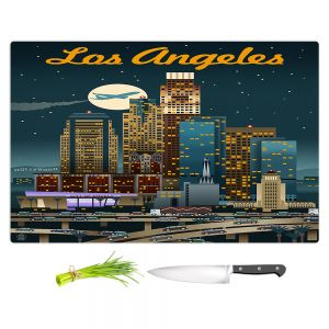 Artistic Kitchen Bar Cutting Boards | Lantern Press - Los Angeles Skyline | Downtown Cityscape Night California