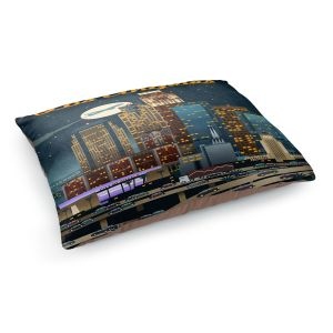 Decorative Dog Pet Beds | Lantern Press - Los Angeles Skyline | Downtown Cityscape Night California
