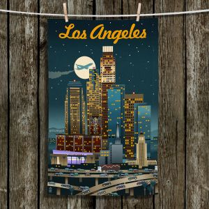 Unique Bathroom Towels | Lantern Press - Los Angeles Skyline | Downtown Cityscape Night California