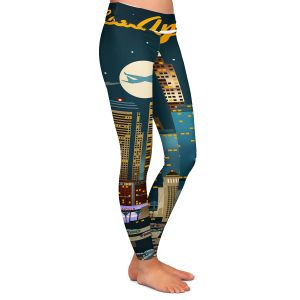 Casual Comfortable Leggings | Lantern Press - Los Angeles Skyline | Downtown Cityscape Night California