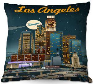 Throw Pillows Decorative Artistic | Lantern Press - Los Angeles Skyline | Downtown Cityscape Night California