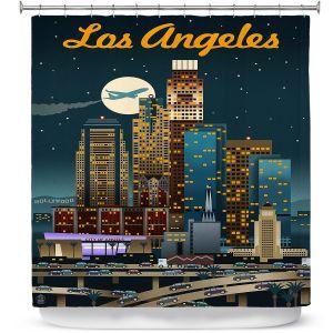 Premium Shower Curtains | Lantern Press - Los Angeles Skyline | Downtown Cityscape Night California