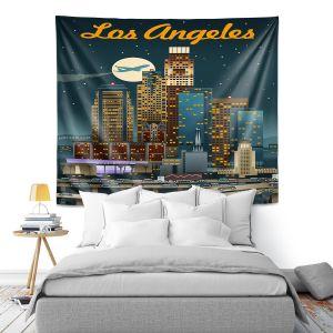 Artistic Wall Tapestry | Lantern Press - Los Angeles Skyline | Downtown Cityscape Night California