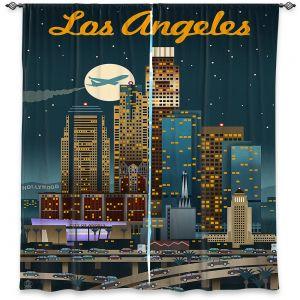 Decorative Window Treatments | Lantern Press - Los Angeles Skyline | Downtown Cityscape Night California