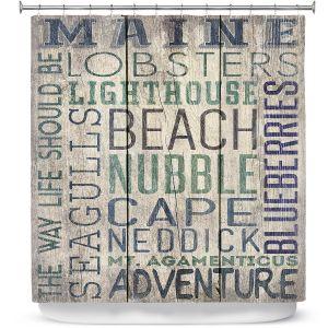 Premium Shower Curtains | Lantern Press - Maine Quotes | Typography Word Art