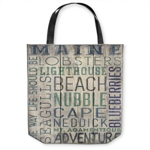 Unique Shoulder Bag Tote Bags | Lantern Press - Maine Quotes | Typography Word Art