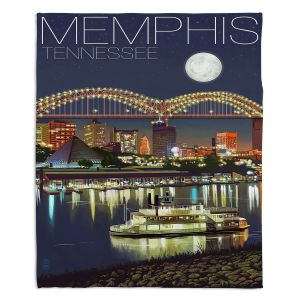 Artistic Sherpa Pile Blankets | Lantern Press - Memphis Skyline | Cityscape Downtown Tennessee Night