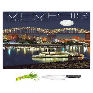 Artistic Kitchen Bar Cutting Boards | Lantern Press - Memphis Skyline | Cityscape Downtown Tennessee Night