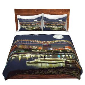 Artistic Duvet Covers and Shams Bedding | Lantern Press - Memphis Skyline | Cityscape Downtown Tennessee Night