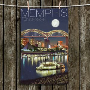 Unique Bathroom Towels | Lantern Press - Memphis Skyline | Cityscape Downtown Tennessee Night