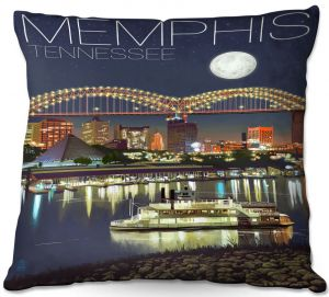 Throw Pillows Decorative Artistic | Lantern Press - Memphis Skyline | Cityscape Downtown Tennessee Night