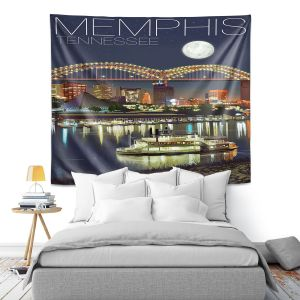 Artistic Wall Tapestry | Lantern Press - Memphis Skyline | Cityscape Downtown Tennessee Night