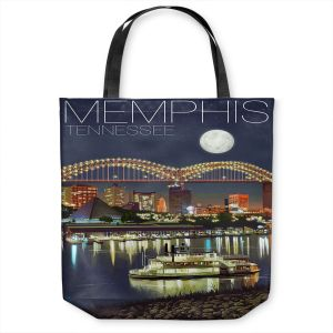 Unique Shoulder Bag Tote Bags | Lantern Press - Memphis Skyline | Cityscape Downtown Tennessee Night