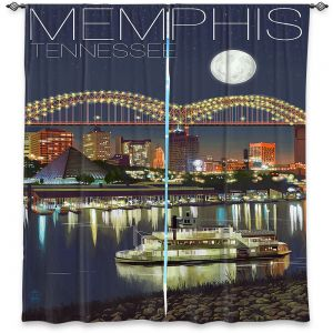 Decorative Window Treatments | Lantern Press - Memphis Skyline | Cityscape Downtown Tennessee Night
