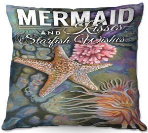 Decorative Outdoor Patio Pillow Cushion | Lantern Press - Mermaid Starfish
