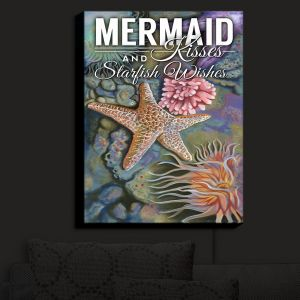 Nightlight Sconce Canvas Light | Lantern Press - Mermaid Starfish