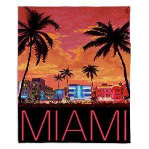 Decorative Fleece Throw Blankets | Lantern Press - Miami Beach | Coast sea ocean cityscape
