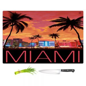 Artistic Kitchen Bar Cutting Boards | Lantern Press - Miami Beach | Coast sea ocean cityscape