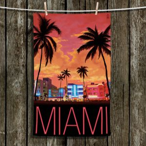 Unique Hanging Tea Towels | Lantern Press - Miami Beach | Coast sea ocean cityscape