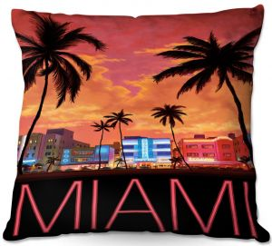 Throw Pillows Decorative Artistic | Lantern Press - Miami Beach | Coast sea ocean cityscape