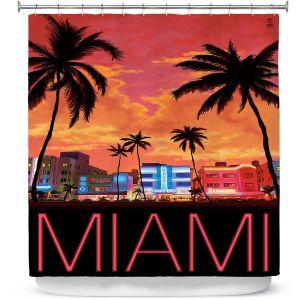 Premium Shower Curtains | Lantern Press - Miami Beach | Coast sea ocean cityscape